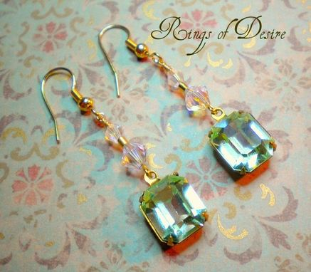 Custom Made Sold Out Earrings Vintage Citrine Green Faceted Rhinestones With Swarovski Crystal Accents