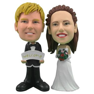 Custom Made Personalized Wedding Cake Topper Of A Couple Welcoming Guests, A Cake Topper That Looks Like The Bride And Groom