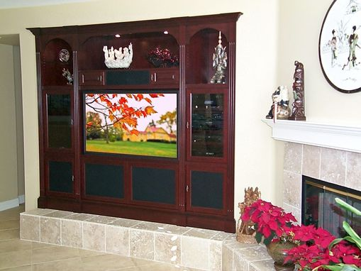 Custom Made Cherry Home Theater Wall Unit Cabinets With Arched Display Space