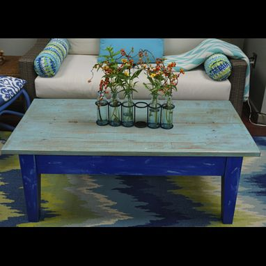 Custom Made Distressed Coffee Table With Drawer And Split Hinged Top
