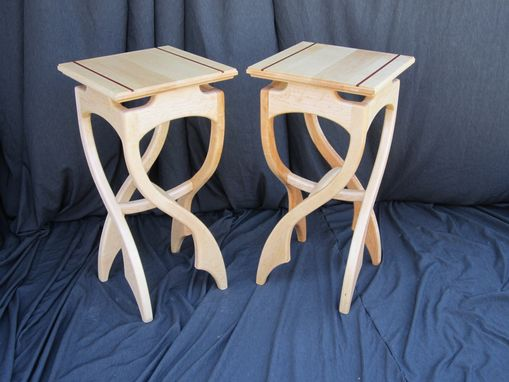 Custom Made Birdseye Maple Pirouette Side Tables