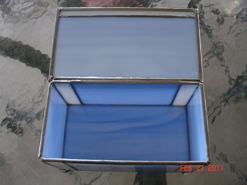 Custom Made Stained Glass Box In Light Blue & White