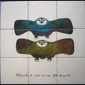 Custom Made Hand Painted Tile Mural: Owls Of The Night