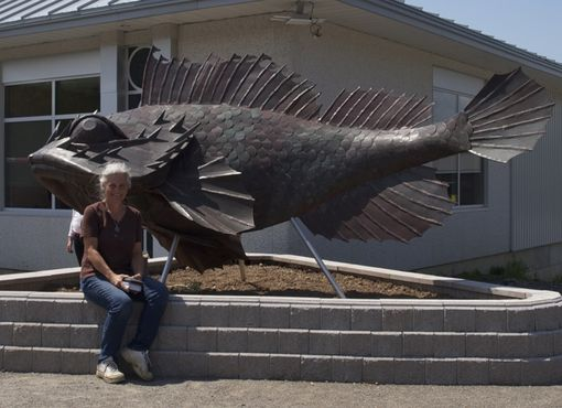 Custom Made Spike - Large Scale Outdoor Fish Sculpture In Copper