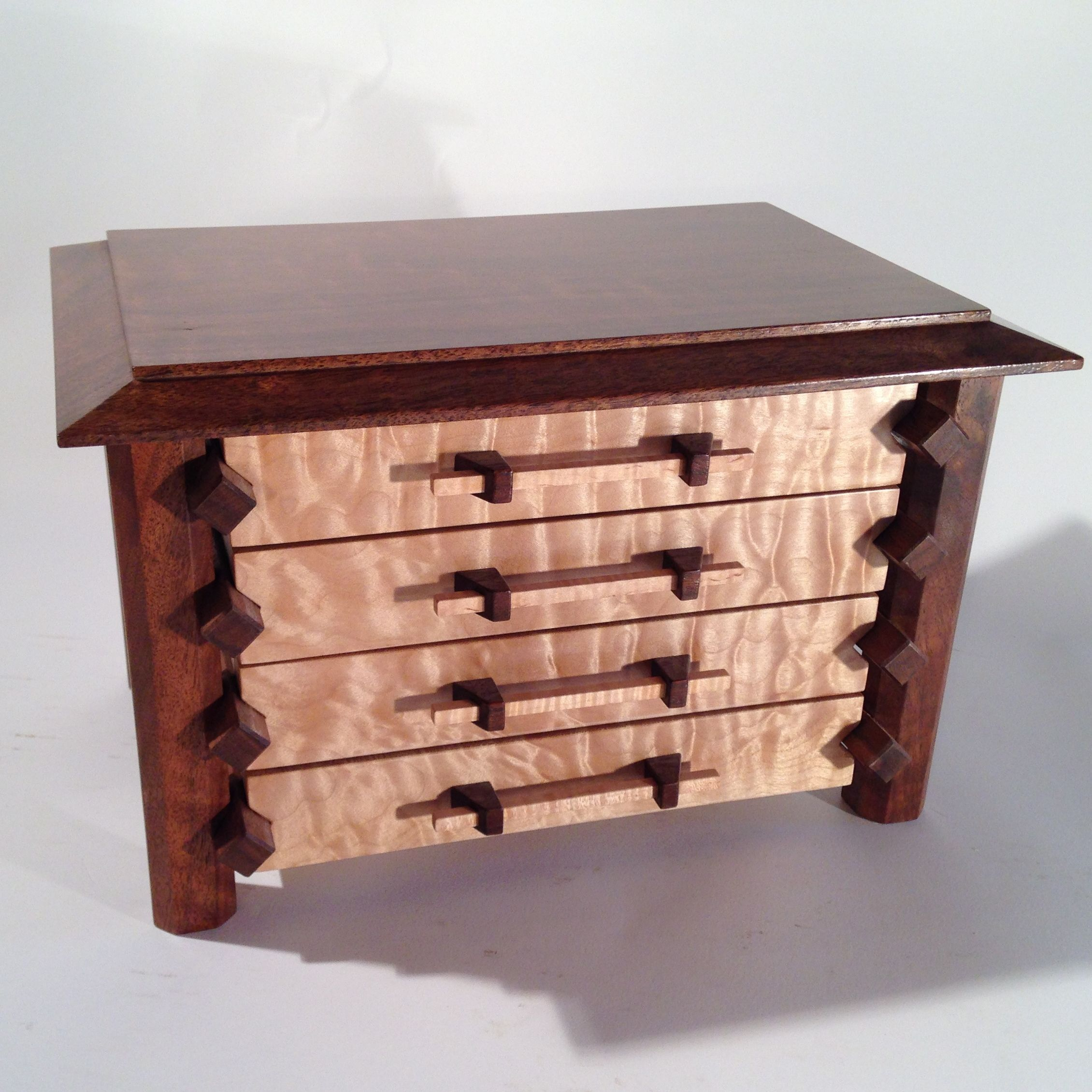 Hand crafted pagoda style jewelry box in quilted maple and for Jewelry box made of wood