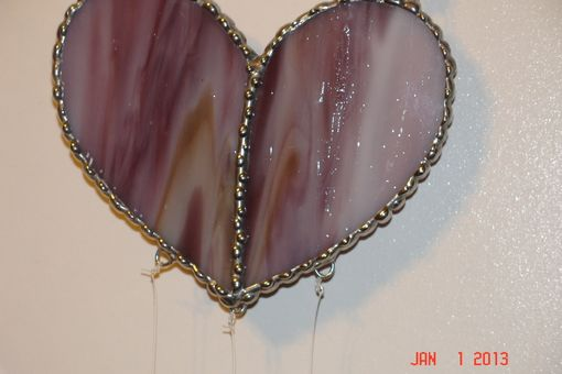 Custom Made Stained Glass Heart Suncatcher In Purple / Yellow / Pink Swirled And Two White Dangling Hearts