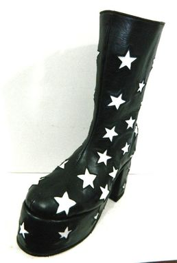 Custom Made Glam Rock Era Platform Boots With Stars All Over Made To Order To Your Size