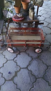 Custom Made Antique Toy Display Red Wagon Table