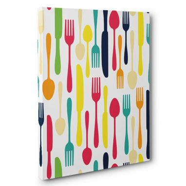 Custom Made Colorful Silverware Kitchen Canvas Wall Art