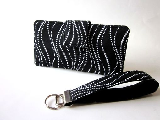 Custom Made Handmade Women Black Wallet With Small White Dots Chain