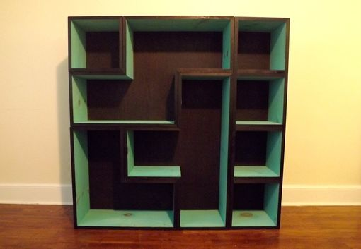 Custom Made Tetris Bookcase- Black/Turquoise