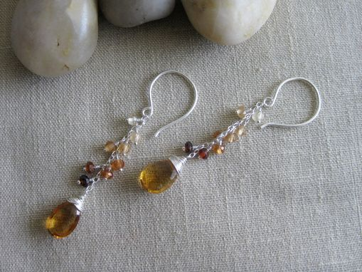 Custom Made Ombre Citrine Earrings Hessonite Garnet Sterling Silver Dangles November Birthstone