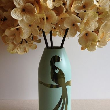 Custom Made Painted Glass Vase, Misty Blue, Peacock Love Bird