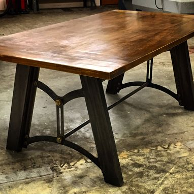 Custom Made Industrial Metal Base Dining Table With Maple Table Top