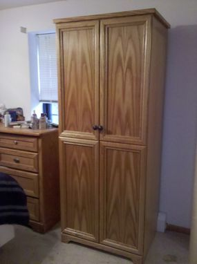 Custom Made Armoire In Red Oak