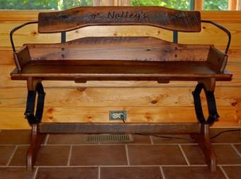 Custom Made Reclaimed Barn Wood Buckboard Buggy Bench