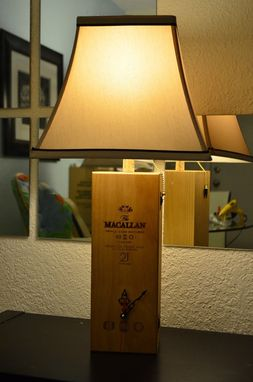 Custom Made Macallan 21 Theme Lamp/Clock Handmade With Beige Shade