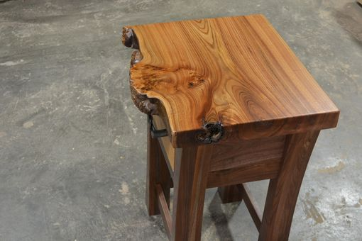Custom Made Walnut And Elm Burl Live Edge Night Stand