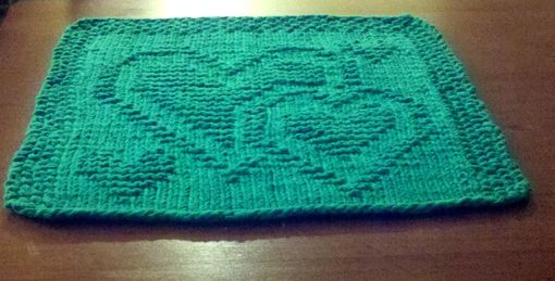 Custom Made Green Hearts Knitted Cotton Cloth For Bathroom, Kitchen, And More