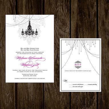 Custom Made Wedding Invitations Damask Chandelier