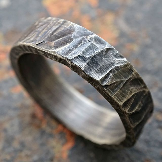 buy a hand crafted rugged silver wedding band cool mens ring rustic silver ring heavy structured made to order from crazyass jewelry custommadecom - Mens Silver Wedding Rings