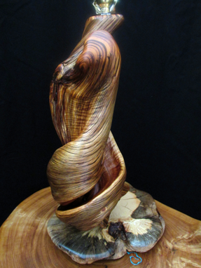 Custom Made Twisted Juniper Log Table Lamp, Lodge Home Lighting