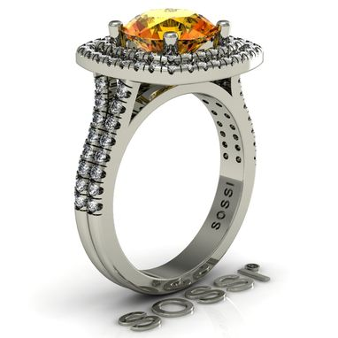 Custom Made Halo 14k White Gold Yellow Citrine And White Topaz Engagement Ring