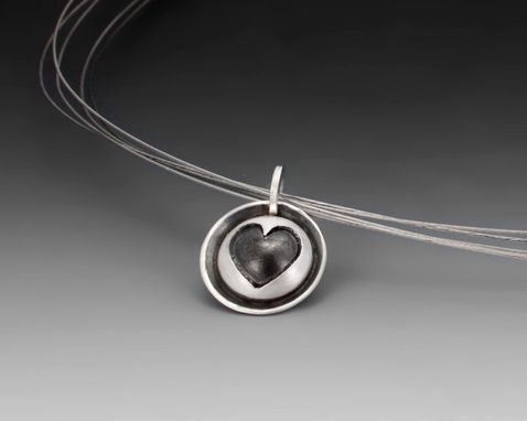 Custom Made Round Heart Pendant, Hand Fabricated Sterling Silver