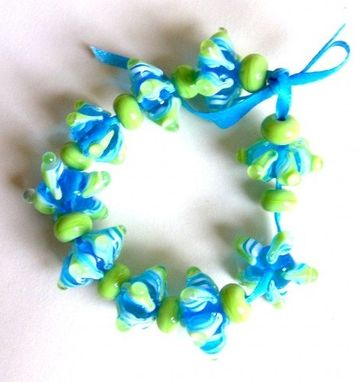 Custom Made Graceful Teal And Pea Green Star Lampwork Beads