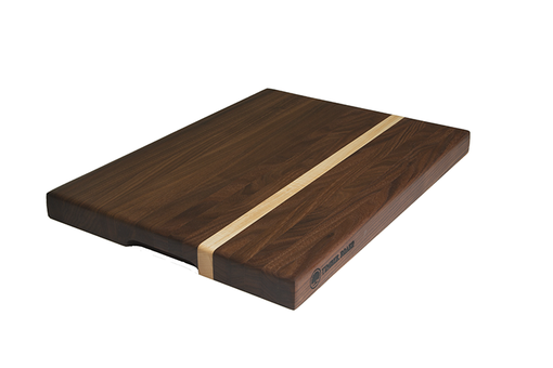 Custom Made Walnut Cutting Board With Offset Maple Stripe, Edge Grain