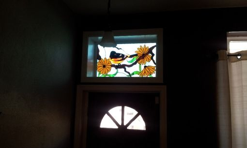 Custom Made Stained Glass Transom - Oriole And Black Eyed Susan's 2 (Tw-39)