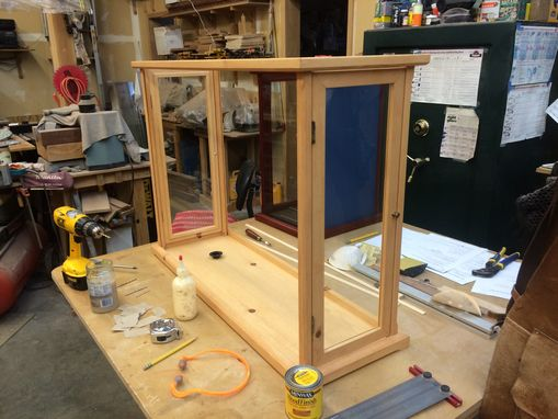 Custom Made Wood And Glass Display Case - Pine -  Mahogany, Cherry, Maple, Oak Or Oak Options Available