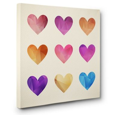 Custom Made Color Hearts Canvas Wall Art