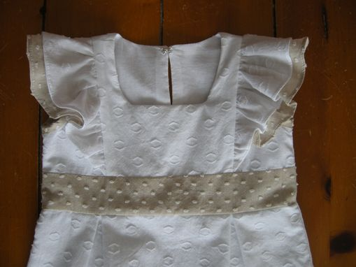 Custom Made Baby Dress - Cotton, White And Beige With Ruffled Shoulders