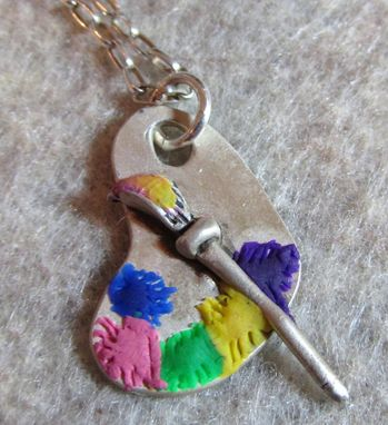 Custom Made Silver Painters Palette Pendant Metal Clay And Polymer Clay