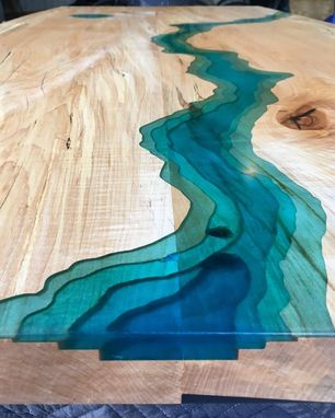 Custom Made Live Edge Spalted Maple Blue Epoxy River Dining Table