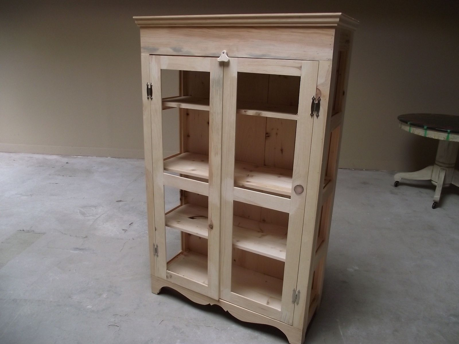 Hand crafted pie safe or kitchen hutch diy unfinished for Diy hutch plans