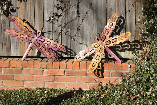 Custom Made Whimsical Dragonfly Metal Wall Art Outdoor Sculpture Garden Decor