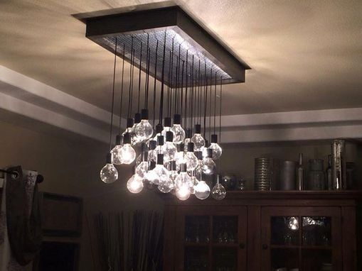 Custom Made Wood And Metal Hanging Bulb Chandelier Light Fixture. Customized To Your Size/Number Of Bulbs.