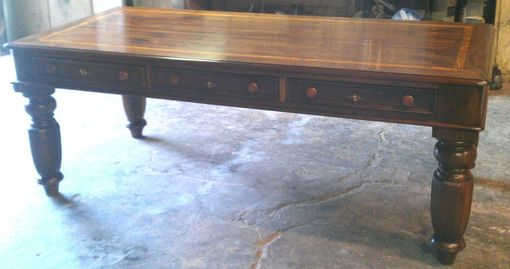 Custom Made Custom Built Desk In Walnut With Hand Wax Finish - Made For Mustang Drilling Office - Dallas, Texas