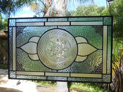 Custom Made Stained Glass Plate Panel Window Transom, Vintage Crystal Luminarc Cris D'Arques Plates Valance