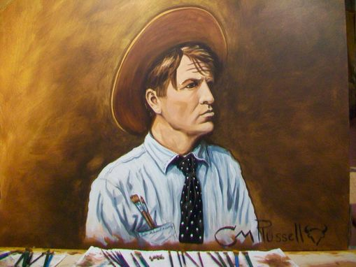 Custom Made Acrylic On Board Portrait For A Mural (3' X 8' Board Includes 2 Portraits): C.M. Russell