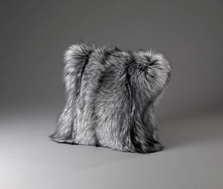Custom Made Silver Fox Fur Pillow