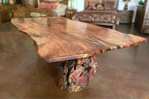 Custom Made Root Live Edge Mesquite Rustic Dining Table Copper Shavings