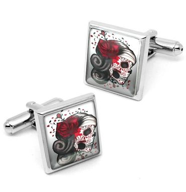 Custom Made Dead Girl Dia De Los Muertos Sugar Skull Silver Cufflink Set 73-Ssc
