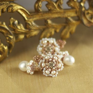 Custom Made Thalie Earrings | Rose Gold Lace Bridal Posts With Freshwater Pearls