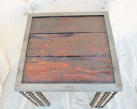 Custom Made Farmhouse Style Rustic Reclaimed Wood Metal Side Table Welded Chain Art