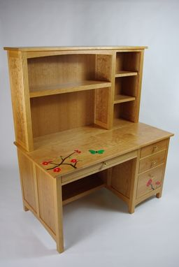 Custom Made Black Cherry And Flower Inlay Desk With Hutch