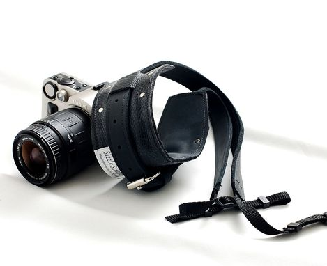 Custom Made All Leather Camera Strap For Dslr Camera - Black