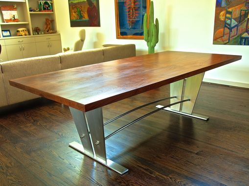Custom Made Walnut & Stainless Steel Dining Table